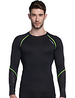 cheap -Men's Crew Neck Patchwork Running Baselayer Sports Stripe Tee / T-shirt / Top Yoga, Fitness, Workout Long Sleeve Activewear Lightweight, Breathable, Compression High Elasticity
