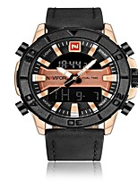 cheap -NAVIFORCE Men's Sport Watch Military Watch Japanese Japanese Quartz 30 m Water Resistant / Water Proof Alarm Calendar / date / day Genuine Leather Band Analog-Digital Luxury Fashion Black / Brown -