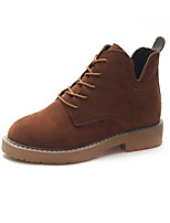 Недорогие -Жен. Fashion Boots Полиуретан Осень Английский Ботинки На низком каблуке Круглый носок Ботинки Черный / Коричневый