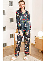 cheap -Women's Notch Lapel Satin & Silk / Suits Pajamas Floral