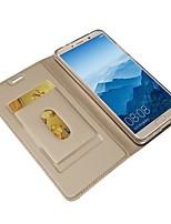 Недорогие -Кейс для Назначение Huawei Mate 10 pro / Mate 10 Кошелек / Бумажник для карт / со стендом Чехол Однотонный Твердый Кожа PU для Mate 10 / Mate 10 pro / Mate 10 lite