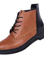 Недорогие -Жен. Fashion Boots Полиуретан Осень На каждый день Ботинки На низком каблуке Круглый носок Ботинки Черный / Хаки / Контрастных цветов