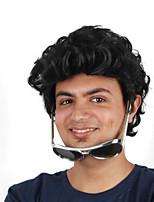 Недорогие -Парики из искусственных волос / Маскарадные парики Кудрявый Стрижка боб Искусственные волосы 12 дюймовый Модный дизайн / Косплей / Удобный Черный Парик Муж. Средняя длина Машинное плетение Черный