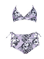 cheap -Women's Strap Tankini - Floral Tie Side