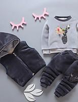 Недорогие -малыш Девочки Классический Однотонный / Контрастных цветов Длинный рукав Хлопок Набор одежды