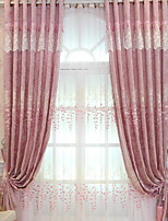 cheap -Sheer Curtains Shades Living Room Floral / Geometric Polyester Embroidery