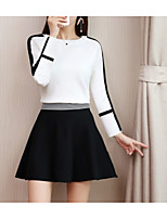 cheap -Women's Basic Set - Solid Colored / Color Block, Patchwork Skirt