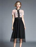 cheap -Maxlindy Women's Vintage / Sophisticated A Line Dress - Color Block Lace / Patchwork