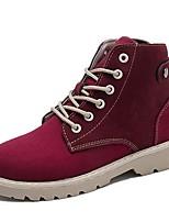 Недорогие -Жен. Армейские ботинки Полиуретан Осень Ботинки Блочная пятка Круглый носок Черный / Винный
