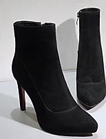 Недорогие -Жен. Обувь Овчина Осень Удобная обувь / Ботильоны Ботинки На шпильке Черный / Серый / Коричневый