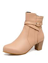 Недорогие -Жен. Fashion Boots Искусственная кожа Наступила зима Ботинки На толстом каблуке Круглый носок Ботинки Черный / Бежевый