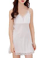 cheap -Women's Deep V Satin & Silk Pajamas Solid Colored