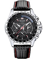 cheap -MEGIR Men's Sport Watch Japanese Quartz 30 m Water Resistant / Water Proof Noctilucent Casual Watch Leather Band Analog Casual Fashion Black - Black Silver