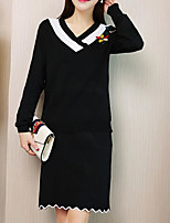 cheap -Women's Sweater - Floral / Color Block Skirt