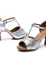 cheap -Women's Latin Shoes Patent Leather Sandal / Heel Splicing Slim High Heel Customizable Dance Shoes Silver