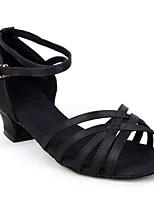Недорогие -Жен. Обувь для латины Сатин На каблуках Толстая каблук Танцевальная обувь Черный / Верблюжий