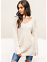 cheap -Women's Long Sleeve Cotton Pullover - Solid Colored