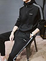 cheap -Men's Pocket / Drawstring / Front Ziper 2pcs Tracksuit - Black, Red, Rough Black Sports Stripe Spandex Sweatshirt / Sweatpants Running, Fitness, Gym Long Sleeve Plus Size Activewear Thermal / Warm