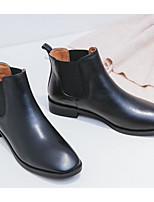 cheap -Women's Shoes Nappa Leather Fall & Winter Comfort / Bootie Boots Chunky Heel Black / Brown