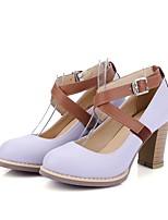 Недорогие -Жен. Обувь Полиуретан Лето Туфли лодочки Обувь на каблуках На толстом каблуке Лиловый / Светло-синий / Миндальный