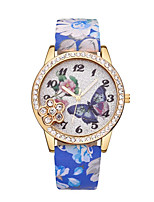 cheap -Women's Wrist Watch Quartz Casual Watch Leather Band Analog Butterfly Fashion Black / Blue / Red - Blue Pink Light Green