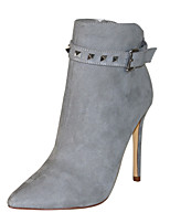 cheap -Women's Shoes Faux Leather Winter Fashion Boots Boots Stiletto Heel Pointed Toe Booties / Ankle Boots Rivet Gray / Party & Evening