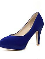 abordables -Femme Daim Printemps été Confort Chaussures à Talons Talon Aiguille Noir / Rouge / Bleu