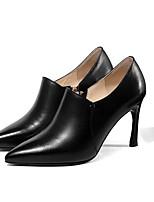 Недорогие -Жен. Наппа Leather Осень Туфли лодочки Обувь на каблуках На шпильке Черный / Бежевый