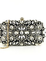 cheap -Women's Bags Polyester / Alloy Evening Bag Beading / Crystals Floral Print Black