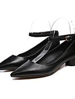 Недорогие -Жен. Обувь Наппа Leather Лето Удобная обувь Обувь на каблуках На толстом каблуке Черный