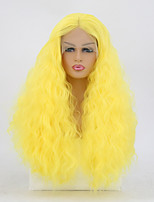cheap -Synthetic Lace Front Wig Curly Golden Middle Part Synthetic Hair 22-24 inch Adjustable / Heat Resistant Golden Wig Women's Long Lace Front Yellow / Yes