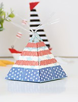cheap -Triangle Card Paper Favor Holder with Ribbons Favor Boxes - 12pcs