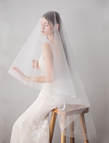 cheap -Two-tier Japan and Korea Style Wedding Veil Fingertip Veils 53 Fringe 62.99 in (160cm) Cotton / nylon with a hint of stretch