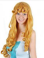 billiga -Syntetiska peruker / Kostymperuker Lockigt Guld Bob-frisyr Syntetiskt hår 30 tum Anime / Cosplay / Dam Guld / Brun Peruk Dam Väldigt länge Maskingjord Ljusguldig