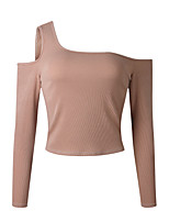 cheap -women's long sleeve cotton pullover - solid colored strapless