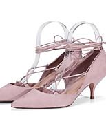 abordables -Femme Chaussures Daim Printemps Escarpin Basique Chaussures à Talons Talon Aiguille Noir / Rose