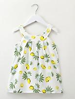 preiswerte -Kinder / Baby Mädchen Zitronengelb Cartoon Design / Frucht Ärmellos Kleid