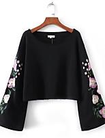 preiswerte -Frauen Langarm-Sweatshirt - floral Rundhalsausschnitt