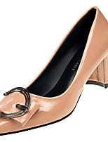 Недорогие -Жен. Полиуретан Осень Туфли лодочки Обувь на каблуках На толстом каблуке Заостренный носок Черный / Бежевый / Розовый