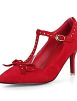 Недорогие -Жен. Комфортная обувь Замша Лето Обувь на каблуках На шпильке Черный / Красный