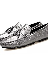 cheap -Men's Patent Leather Fall Moccasin Loafers & Slip-Ons Black / Silver