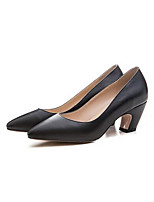 baratos -Mulheres Sapatos Pele Napa Primavera Conforto Saltos Salto Robusto Preto / Marron