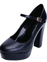 Недорогие -Жен. Обувь Наппа Leather Осень Туфли лодочки Обувь на каблуках На толстом каблуке Черный / Миндальный