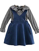 Недорогие -Дети Девочки Шахматка Длинный рукав Набор одежды