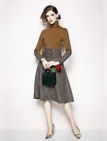 baratos -Mulheres Básico Conjunto Estampa Colorida Vestidos