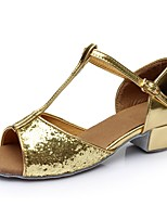 baratos -Mulheres Sapatos de Dança Latina Couro Envernizado Sandália / Salto Recortes Salto Grosso Personalizável Sapatos de Dança Dourado