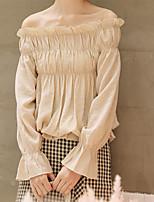Недорогие -Жен. Блуза Хлопок, С открытыми плечами Однотонный