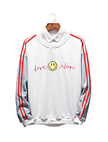cheap -Men's Sweatshirt - Solid Colored / Striped / Letter, Print