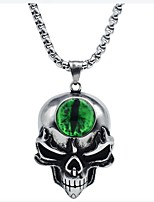 cheap -Men's Aquamarine Stylish Pendant Necklace - Titanium Steel Skull Vintage Cool Silver 58 cm Necklace Jewelry 1pc For Gift, Daily