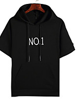 cheap -Men's Short Sleeve Hoodie - Solid Colored / Letter Hooded